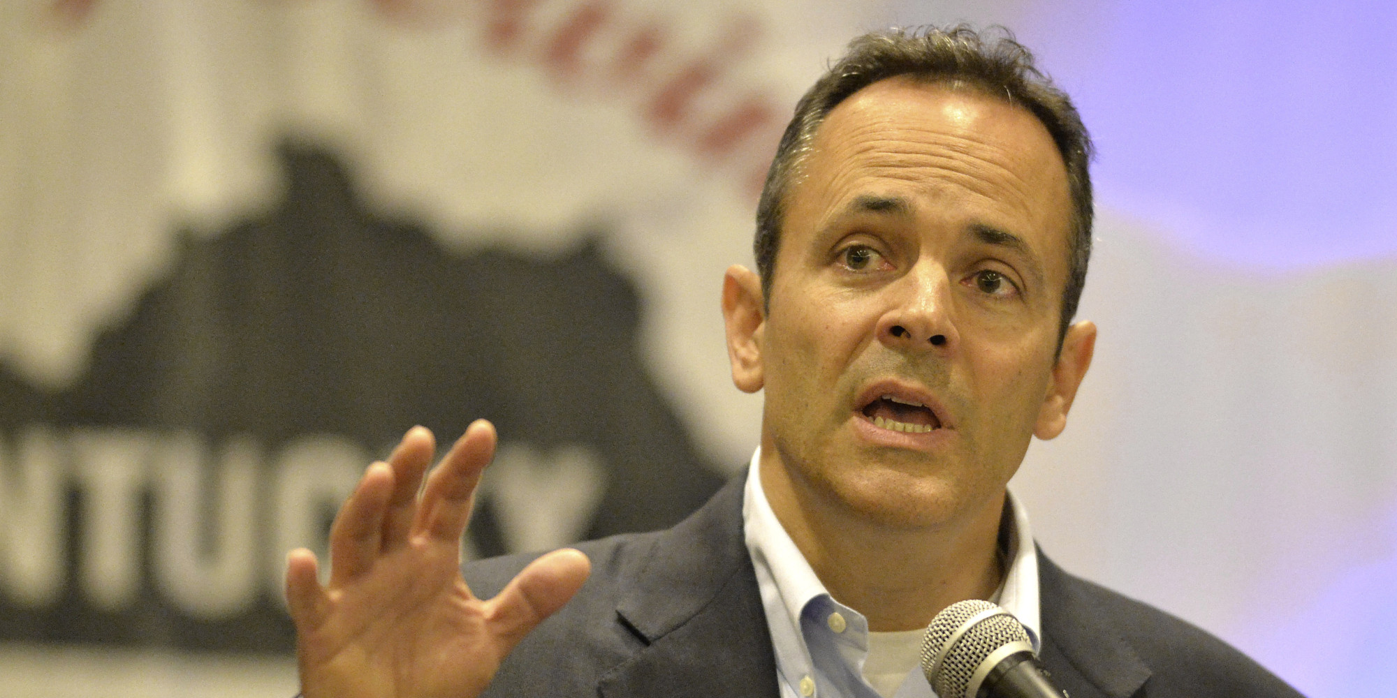 Kentucky Republican gubernatorial candidate Matt Bevin speaks at a candidates forum during a meeting of county judge executives and magistrates conference, in Louisville, Ky., Friday, June 19, 2015. (AP Photo/Timothy D. Easley)